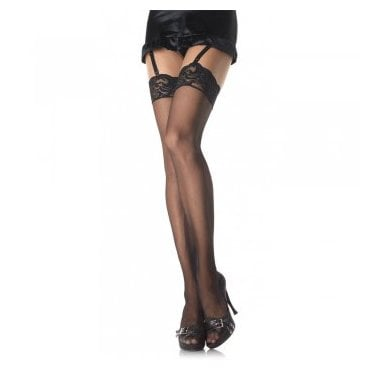 Leg Avenue 1011Q plus size nylon lace top stockings