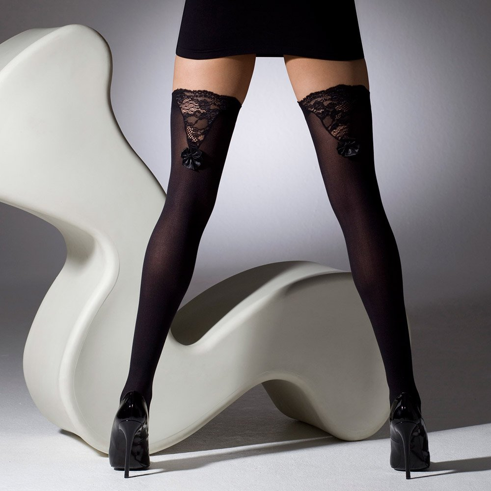 Gipsy 1195 Lace V Insert And Bow Stockings At Stockings Hq