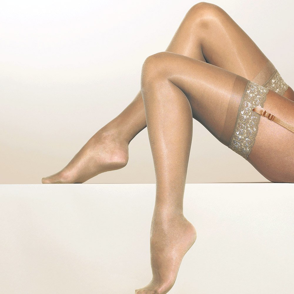Gipsy 1280 satin sheer stockings wth lace top