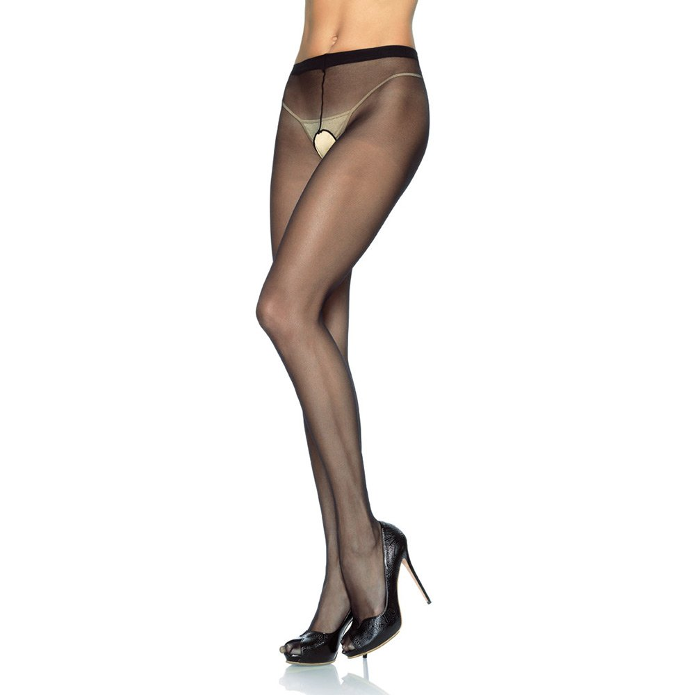 Leg Avenue 1905Q sheer nylon crotchless tights - QUEEN SIZE