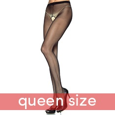 1905Q sheer nylon crotchless tights - QUEEN SIZE
