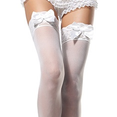 1912 sheer lace satin bow accent stockings
