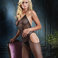 89031 seamless halter fishnet cut-out bodystocking