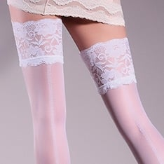 Allure 20 model 14 patterned backseam lace top hold-ups
