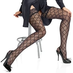 Bas Top Allure microtulle patterned hold-ups