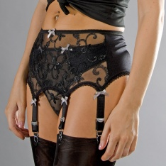 Stockings HQ black sparkle 6-strap suspender belt