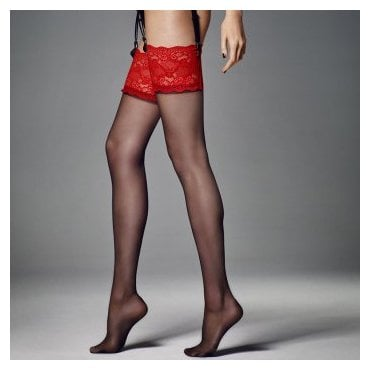 Veneziana Calze Esmeralda contrast lace top stockings
