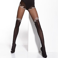 Capucine contrast faux over-knee tights