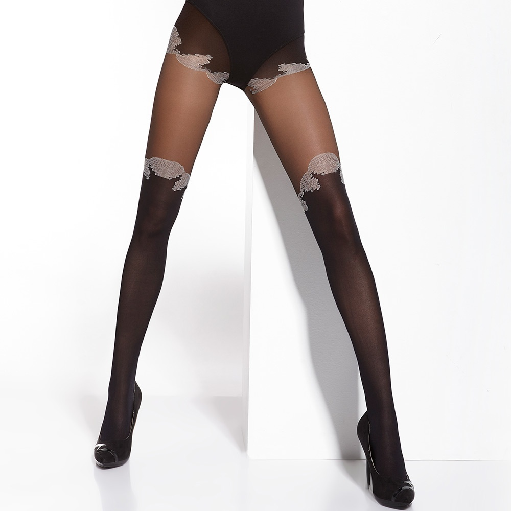 0c3ebcfc096a8 Adrian Capucine contrast faux over-knee tights at Stockings HQ the ...