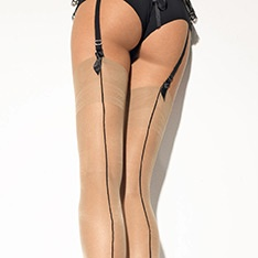 Chantal Rigo Girardi Signature seamed logo stockings