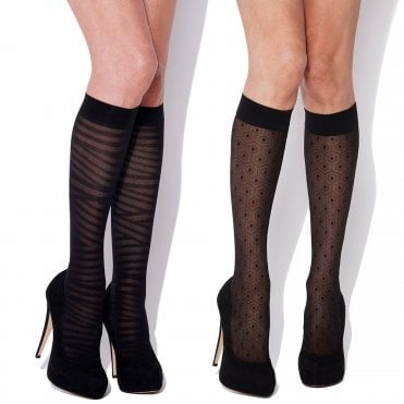 49c12f91889 Charnos Fashion Trouserwear Stripe and Honeycomb knee highs - 2 pair pack