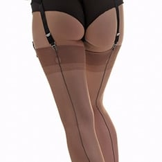contrast seam fully fashioned stockings - RARE