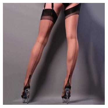 Gio cuban heel fully fashioned stockings - FULL CONTRAST