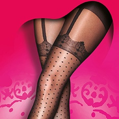 Curves Mock Spot and Lace suspender tights