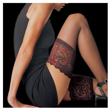 Le Bourget Essentiel sheer hold-ups with two colour lace top