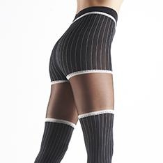 Fedora pinstripe faux hold-up tights