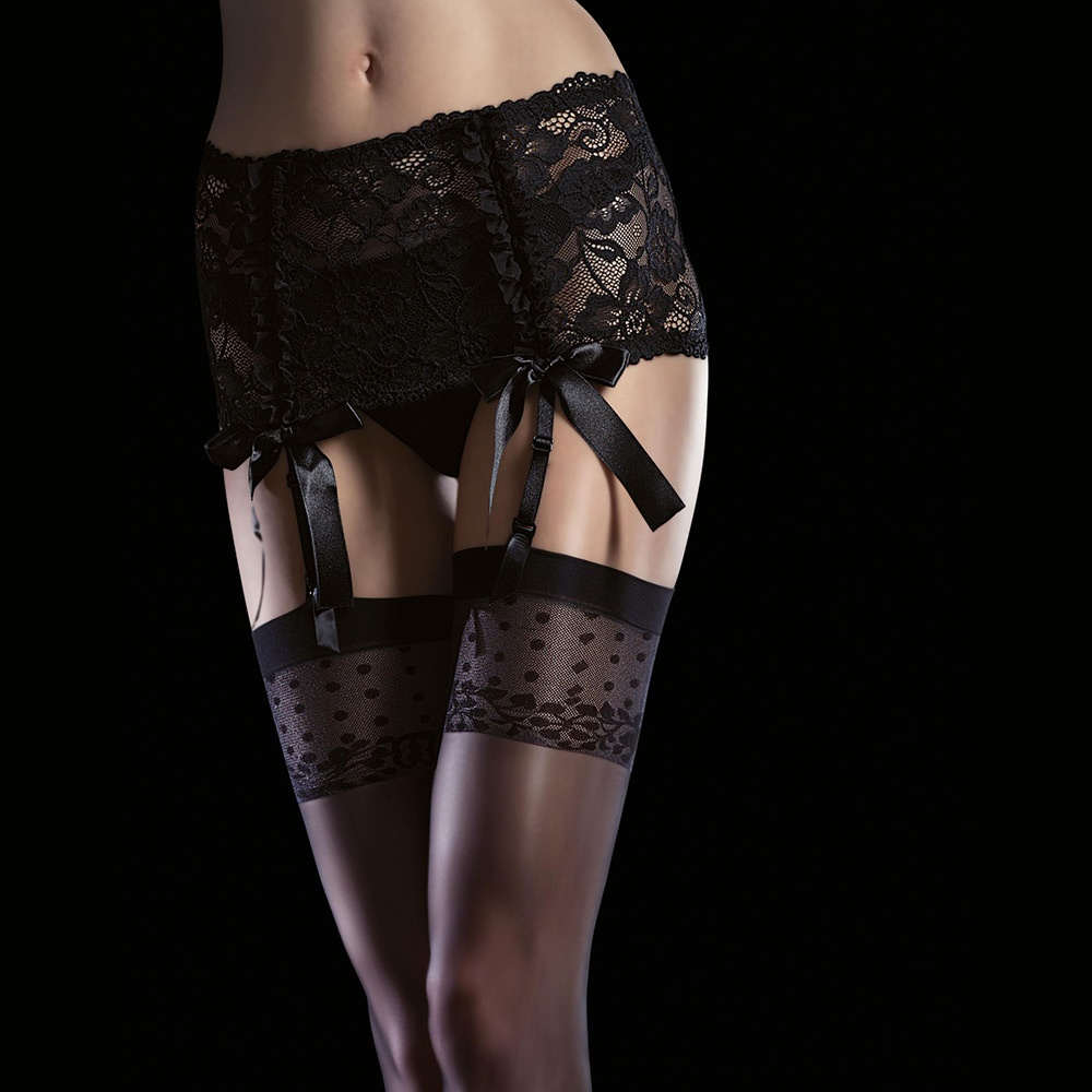 a4ae1382e Fiore Isis patterned top stockings at Stockings HQ the Fiore ...