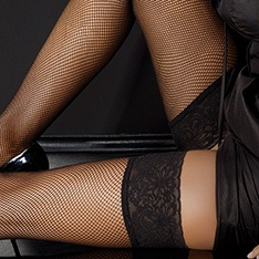 fishnet hold-ups with lace top