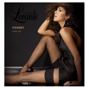 Levante fishnet hold-ups with lace top
