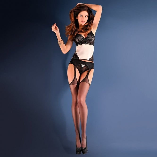 Gabriella Strip Panty Classic sheer suspender tights