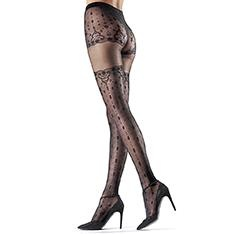 Gigliola patterned faux hold-up tights