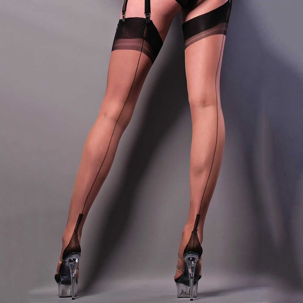 f1bb9822ad1 Gio Full Contrast cuban heel fully fashioned stockings at Stockings ...