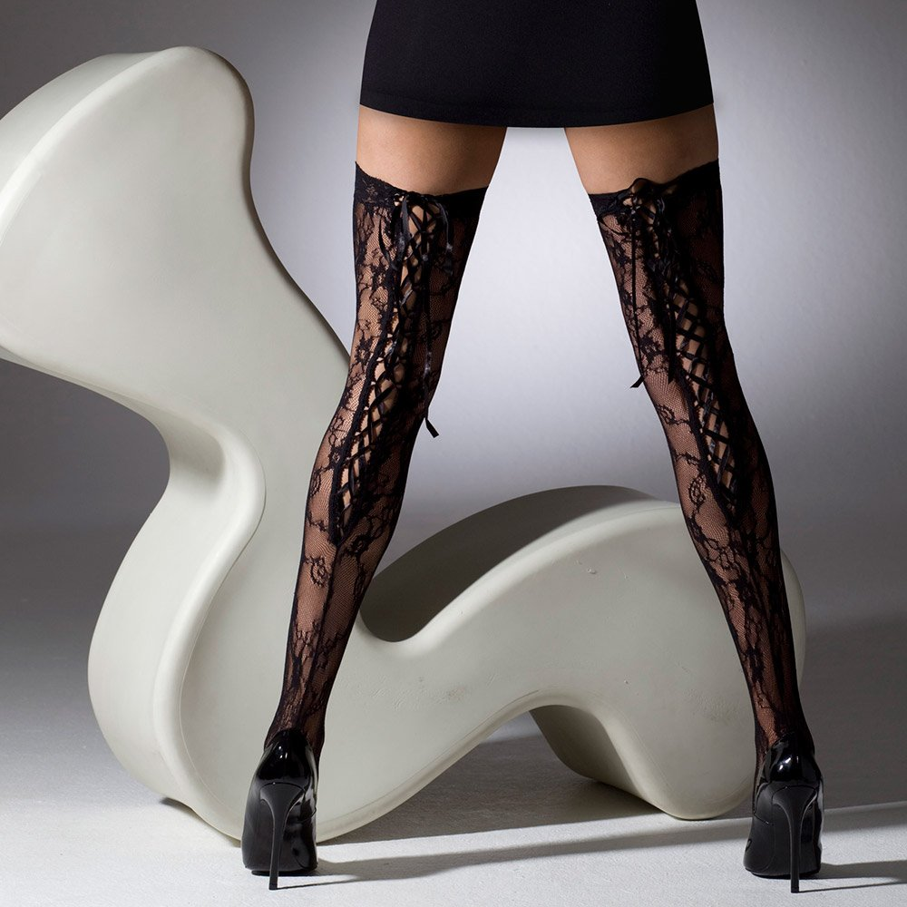 Gipsy 1151 Lace Open Back Ribbon Tie stockings