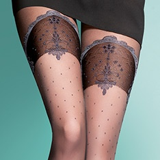 Gloria faux lace top hold-up tights