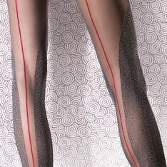 Fiore Hestia sheer and melange contrast backseam tights