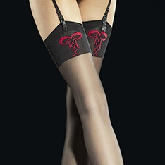 Incontra contrast bow pattern stockings