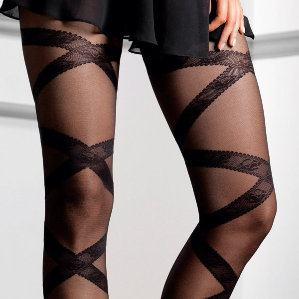 9d4208c4539 Le Bourget Lilou floral ribbon tights at Stockings HQ the UK Le ...