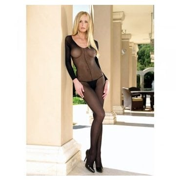 Leg Avenue 8297 sheer long sleeved scoop neck bodystocking