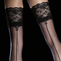 Leyla seamed lace top hold-ups