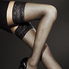 Liza fishnet hold-ups with lace top