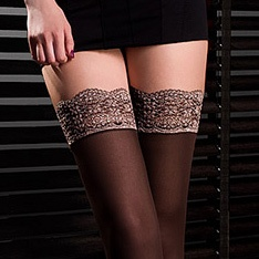 Black Edition Caprice microfibre opaque lace top hold-ups