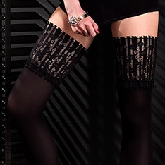 Black Edition Desire microfibre opaque lace top hold-ups