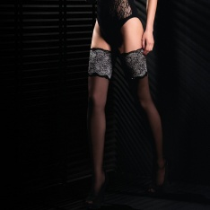 Mona Black Edition Soiree 01 20 denier contrast lace hold-ups