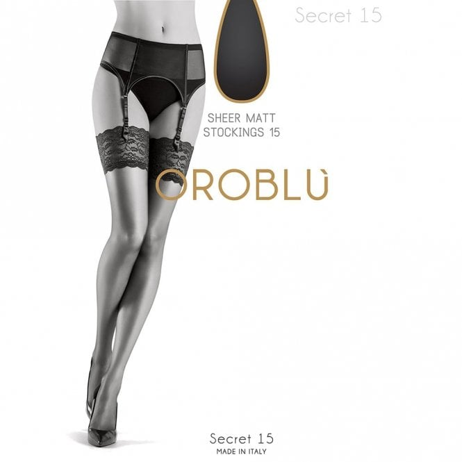 Oroblu Bas Secret 15 sheer deep lace top stockings