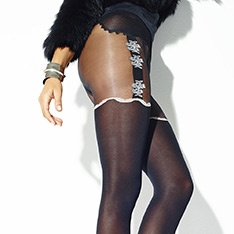 Passional opaque faux suspender tights