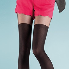 Paty opaque faux hold-up tights