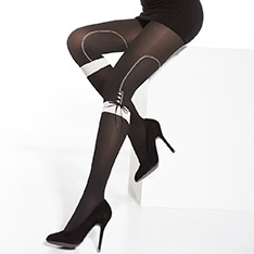 Peggy contrast bar and bow tights