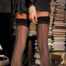 Pennac contrast seamed stockings