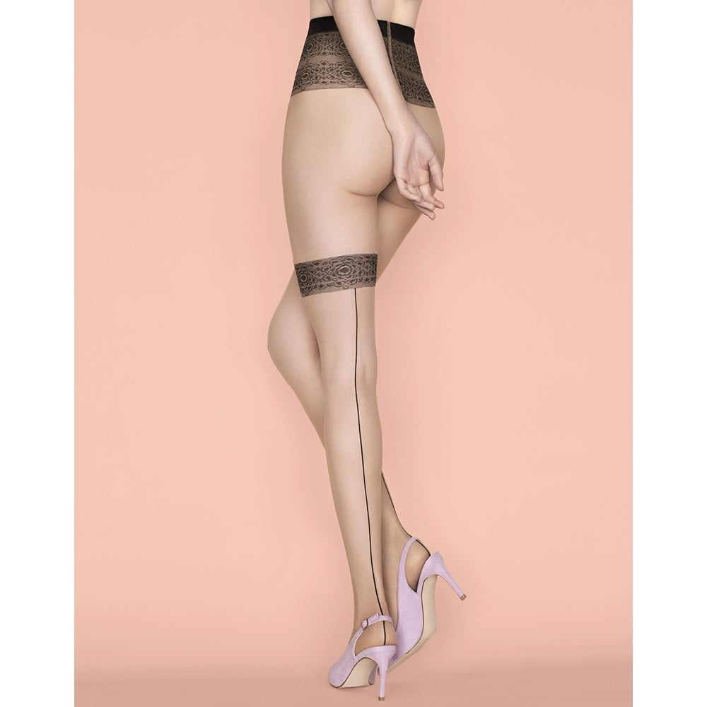 Fiore Platonic seamed faux hold-up tights