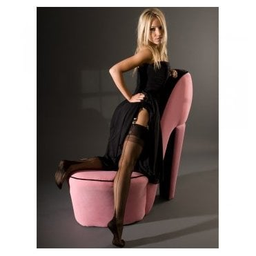 Eleganti Point heel fully fashioned stockings - CONTRAST SEAM - SECONDS