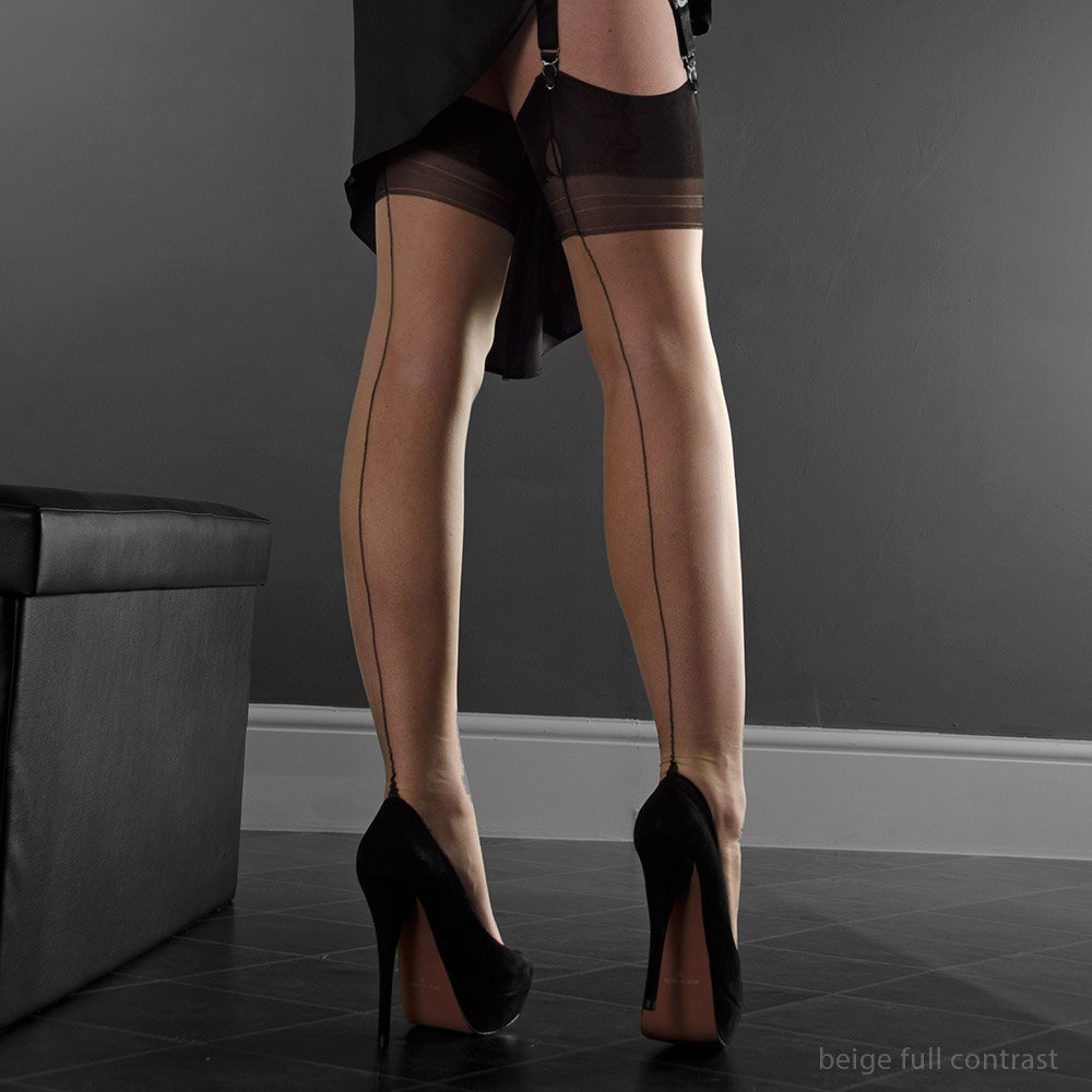 Eleganti Point heel fully fashioned stockings - FULL CONTRAST - PERFECTS