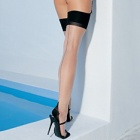 1024 contrast seam cuban heel stockings