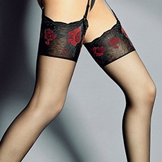 Veneziana Nadia floral pattern top sheer stockings