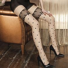 Rutilo contrast spot faux hold-up tights