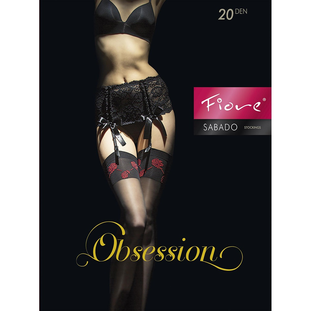 0724131bd18 Fiore Sabado contrast rose top stockings at Stockings HQ the UK ...