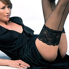Salzburg seamed wide lace band hold-ups